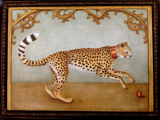 """Portrait of a Cheetah from the French Court"" by Marque Todd (oil on panel, 7x5 inches) - TabascoCatArt.com"