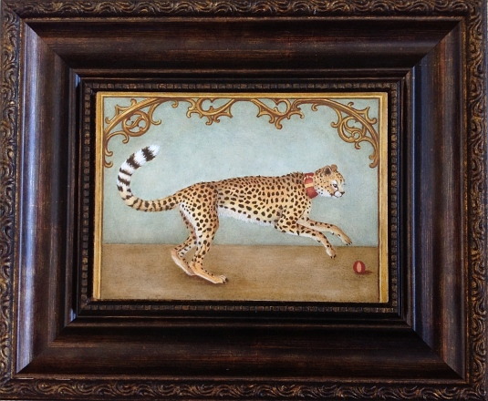 """Portrait of a Cheetah from the French Court"" framed by Marque Todd (oil on panel, 7x5 inches) - TabascoCatArt.com"