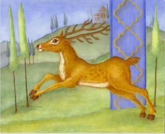 """Illuminated Deer"" 10""x8"" silverpoint and oll on true gesso panel by Marque Todd 2013"
