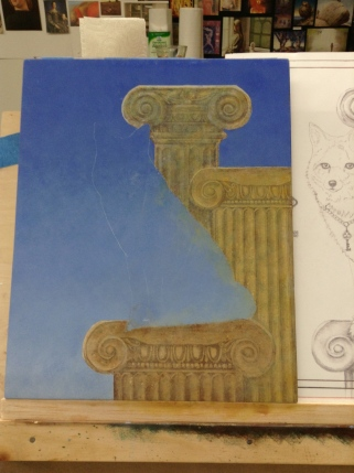 Creating warm and cool columns with glazes and knocking back with scumbles