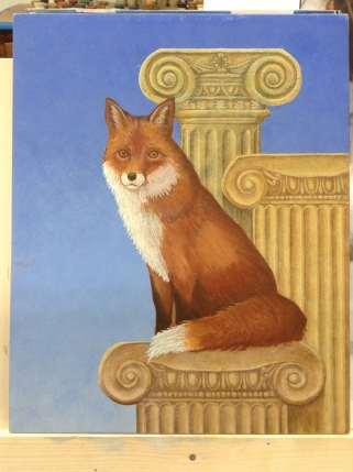 More layers including glazes and scumbles on the fox